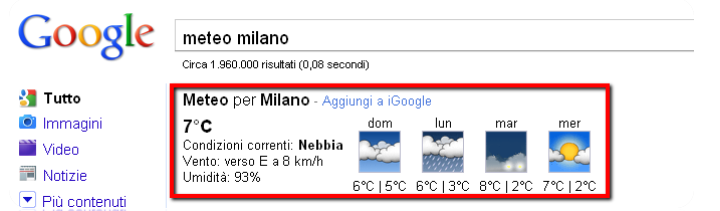 Cercare il meteo su Google