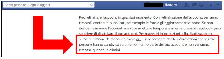 Cancellarsi da Facebook: terzo step