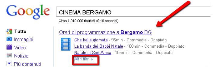 cercare su google la programmazione cinema