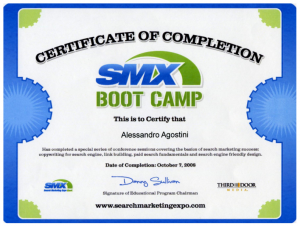 SMXBootCamp Certificate