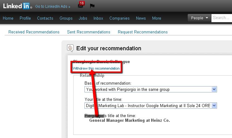 ritirare raccomandazione linkedin
