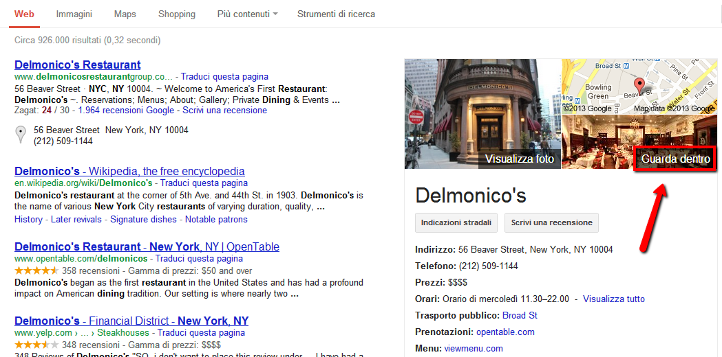 SERP con integrazione local di Google Business Photos