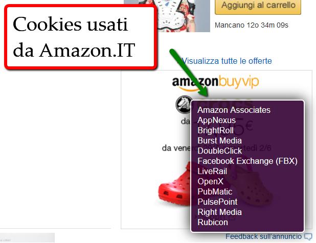 Esempio di cookies utilizzati da Amazon