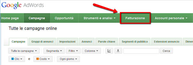 fatture google adwords