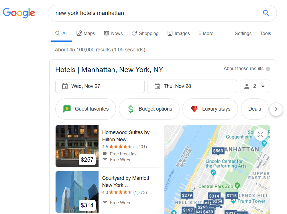 Google Travel results