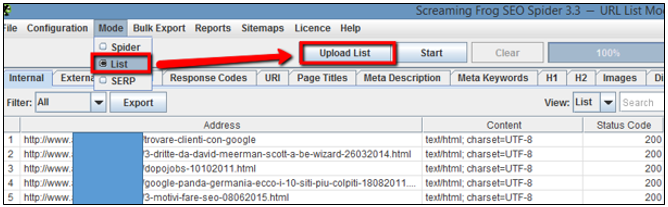 ScreamingFrog, mode list