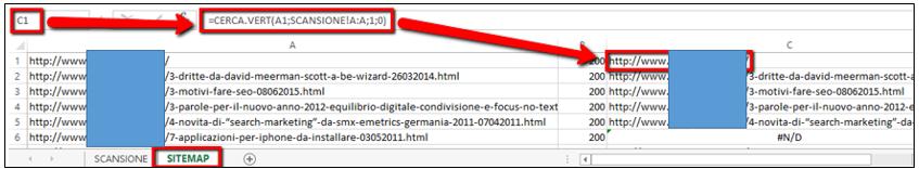 Foglio Excel Sitemap