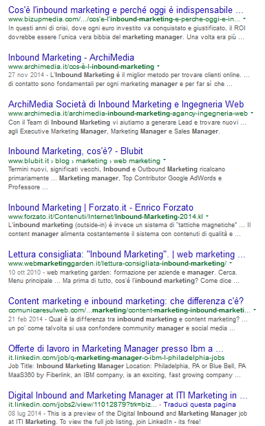 "La serp per ""Inbound Marketing manager"" ottenuta utilizzando google.it"