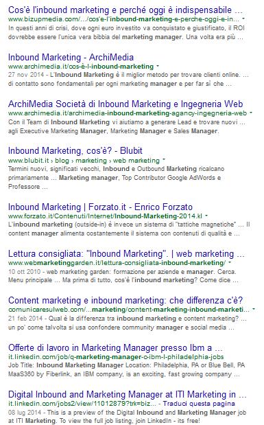 """La serp per """"Inbound Marketing manager"""" ottenuta utilizzando google.it"""