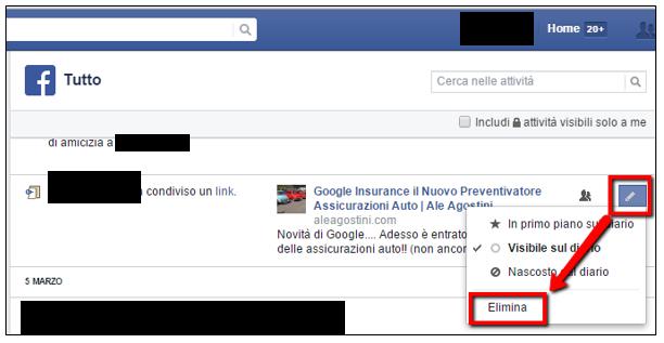 Cancellare post Facebook width=