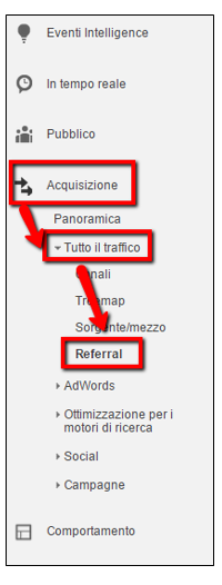 Dove vedere i referral Analytics