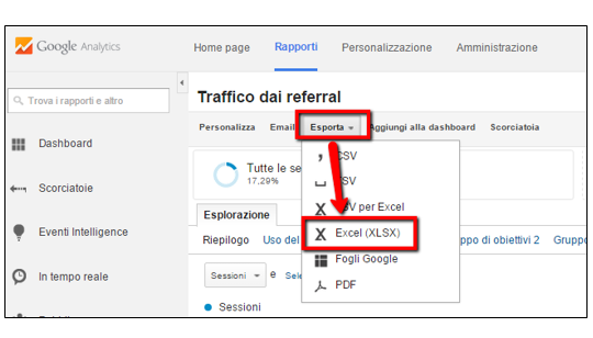 Scaricare tabella referral da Analytics