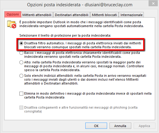 Come eliminare lo spam Outlook