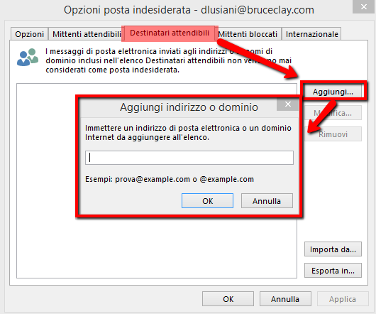 Aggiungere mail non spam su outlook