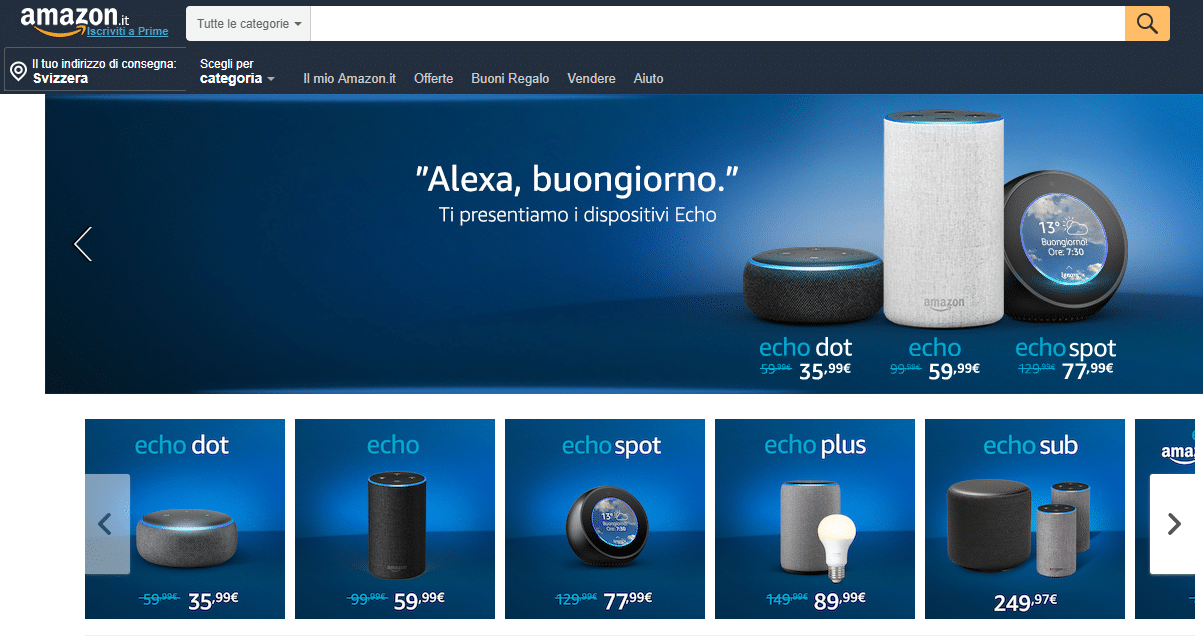 Voice Search e Vocal Search Amazon Alexa