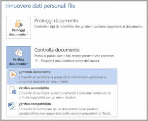 come rimuovere i dati personali da un file Office